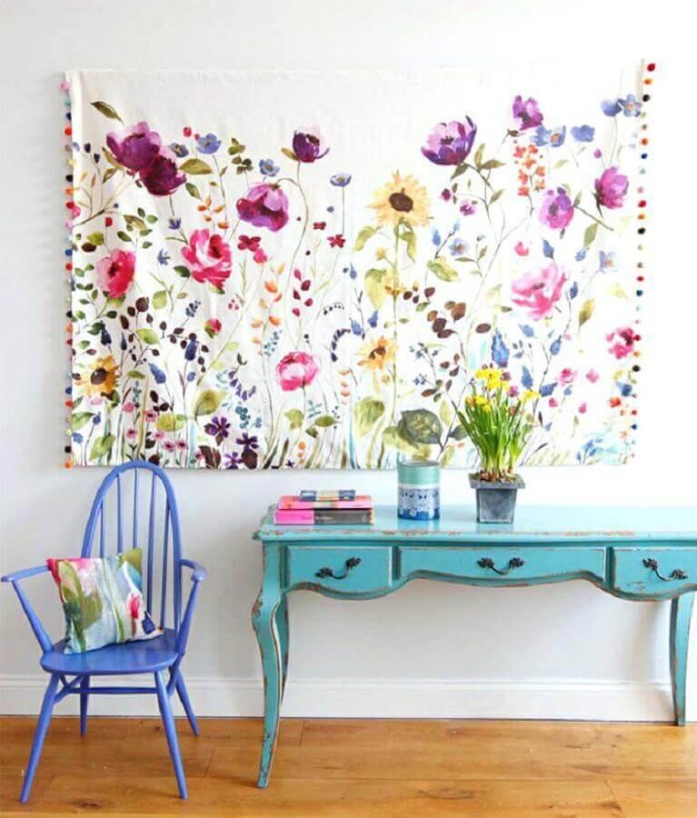 ideias para parede com tecido colorido