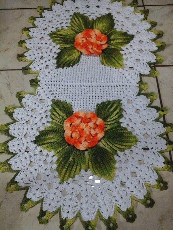 inspiração de como fazer folhas de crochê para tapetes