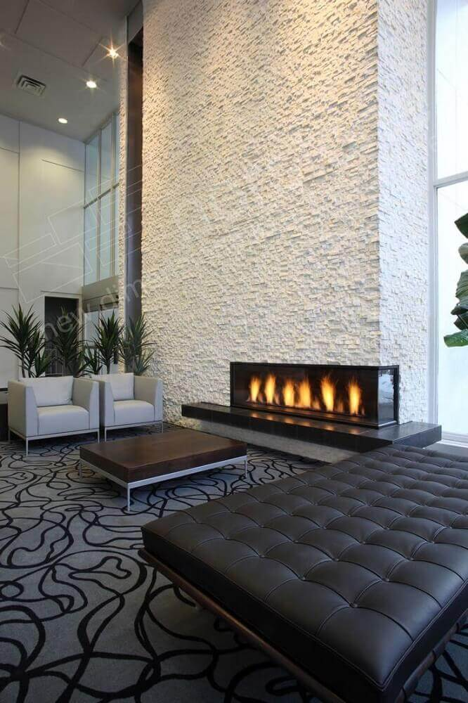 lareira de canto para sala com decoração sofisticada