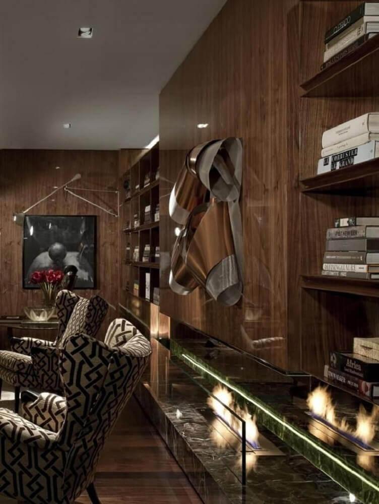 lareira ecológica para sala de estar decorada