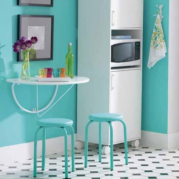 mesa dobrável para cozinha em estilo vintage