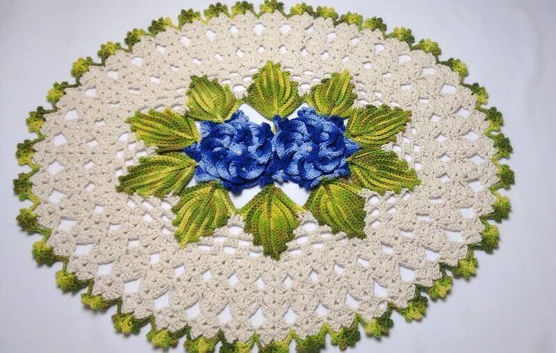 modelo como fazer folhas de crochê para tapetes