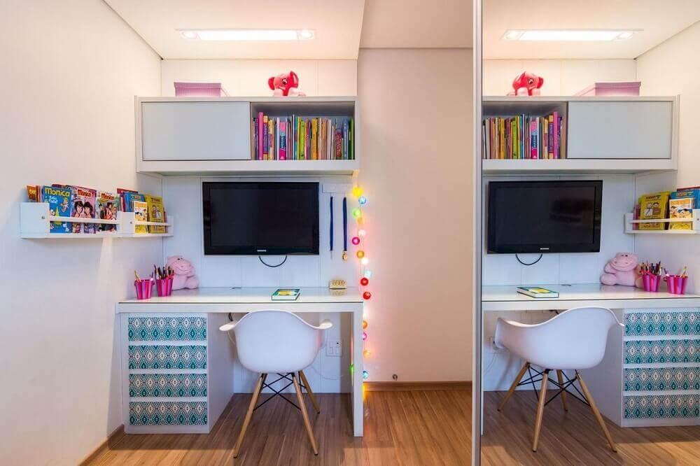 modelo de escrivaninha pequena para quarto de menina