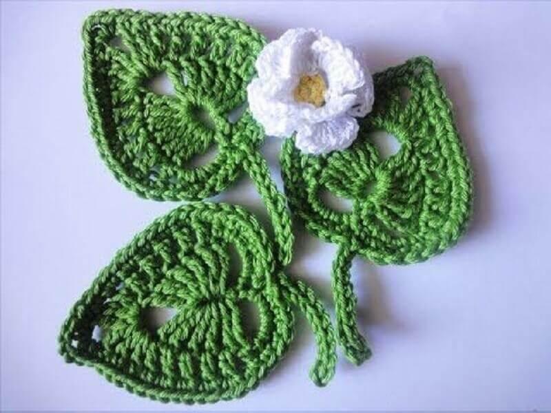 modelo de folhas de crochê para aplicação