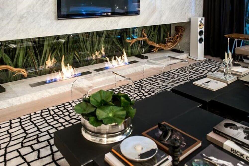 modelo de lareira ecológica para sala moderna decorada