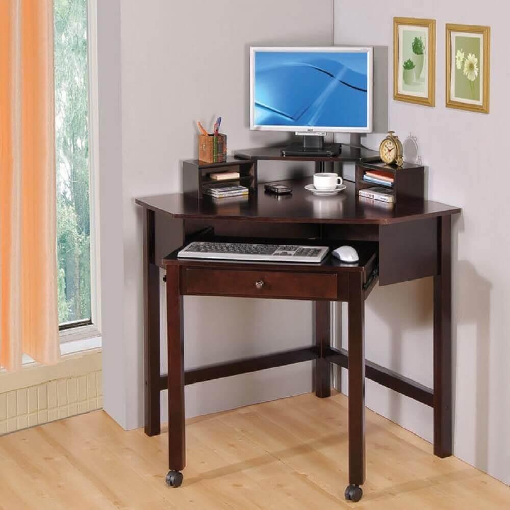 modelo simples de escrivaninha de canto pequena