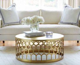 modelo sofisticado de mesa redonda dourada para sala de estar