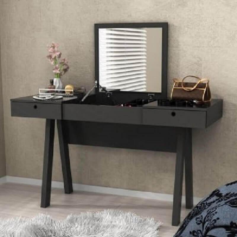 penteadeira com espelho simples preta
