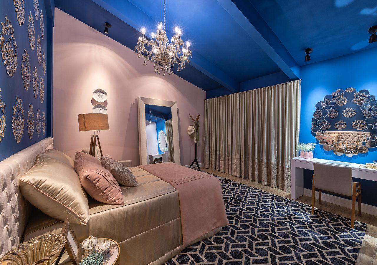 penteadeiras modernas - quarto rosa e azul clássico com penteadeira