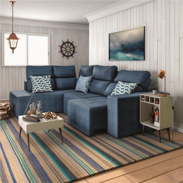 Sofá retrátil de canto azul marinho