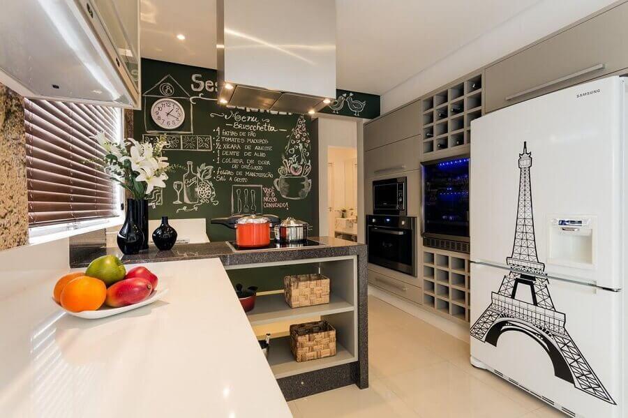 tinta lousa para decoração de parede de cozinha