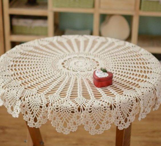 toalha de mesa de crochê - toalha de mesa branca e circular - Pinterest