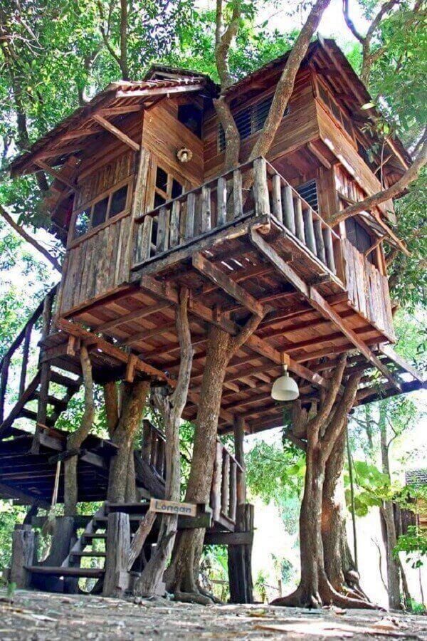 Os troncos sustentam a estrutura da casa na árvore
