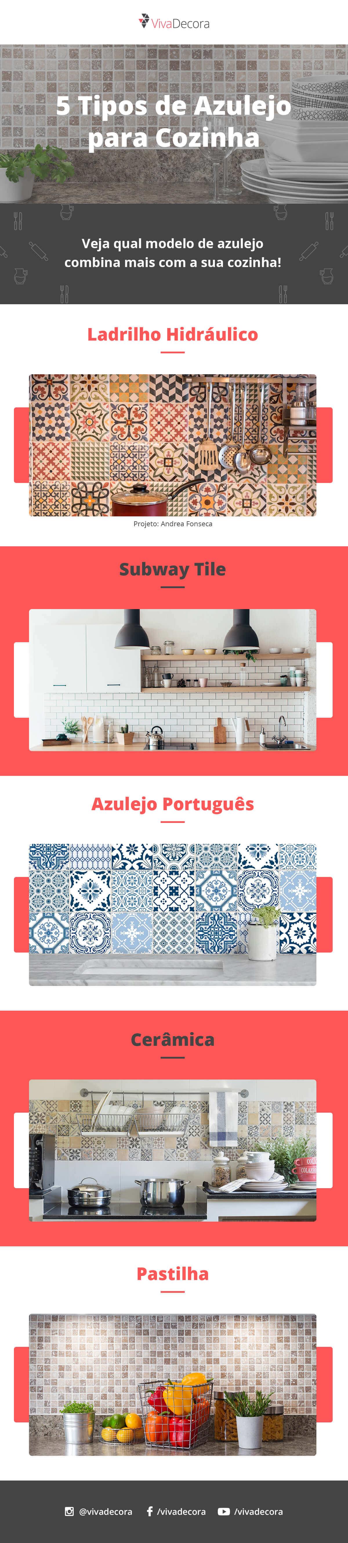 Infográfico - Tipos de Azulejo para Cozinha