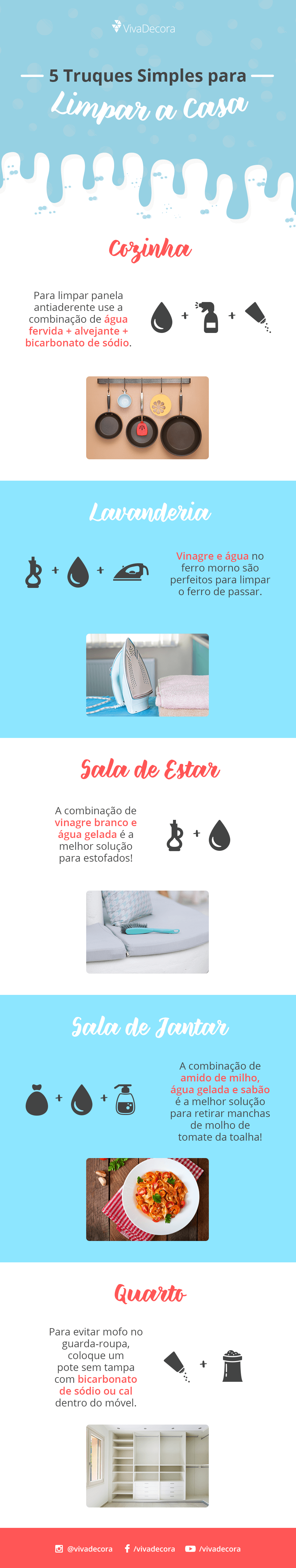 Infográfico - 5 truques simples para limpar a casa
