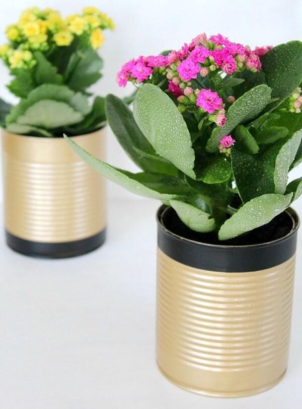 As latas decoradas servem de vaso para plantas