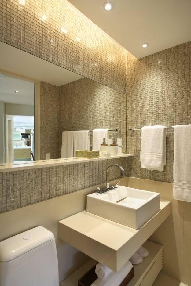 A sanca de gesso é uma ótima alternativa para decoração de banheiros
