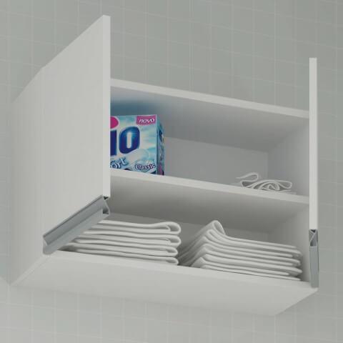 Armário multiuso aéreo na lavanderia