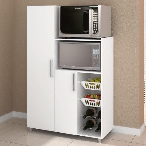 Armário multiuso com espaço para eletrodomésticos, fruteira e adega