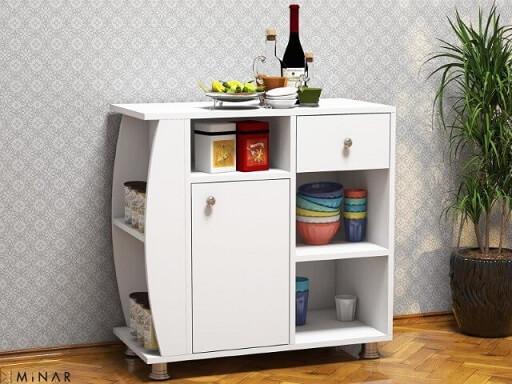 Armário multiuso com formato diferente para cozinha