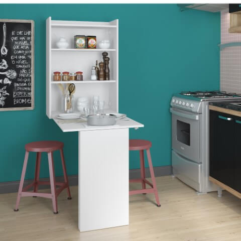 Armário multiuso de parede com mesa dobrável na cozinha