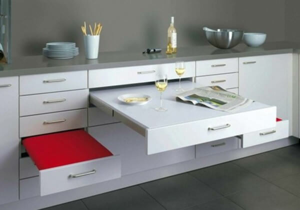 Armário multiuso para cozinha com gavetas diversas