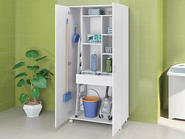 Armário multiuso para lavanderia com espaços para cada item