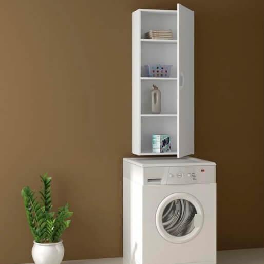 Armário multiuso vertical em cima da máquina de lavar