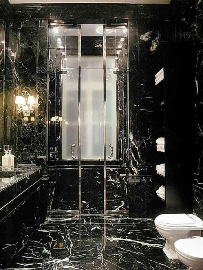 Banheiro com mármore preto - Pinterest
