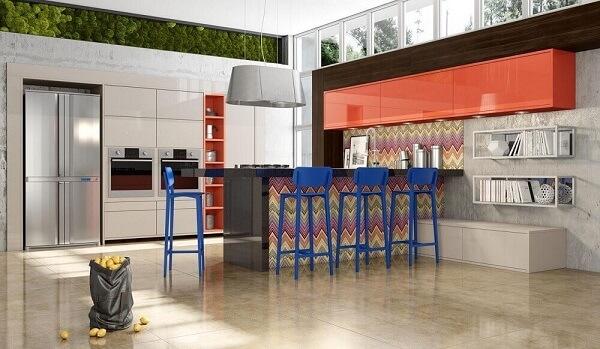Banquetas para cozinha coloridas de azul