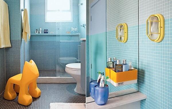 banheiro infantil mesclado com as cores amarelo e azul