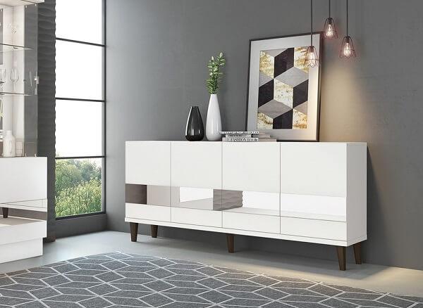 Buffet para sala de jantar branco com detalhe espelhado