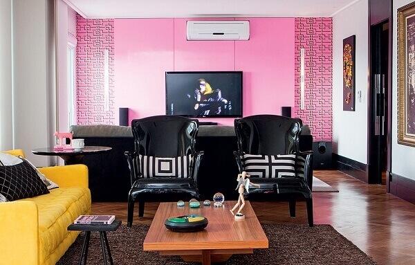 Cores para sala grande na cor rosa