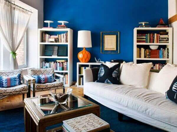 Cores para sala pequena pintada em azul