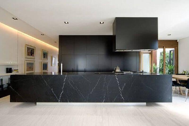 Cozinha moderna em mármore preto - Pinterest
