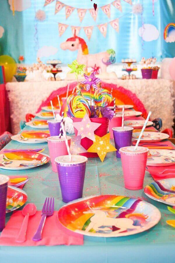 Festa de Unicórnio mesa de arco iris