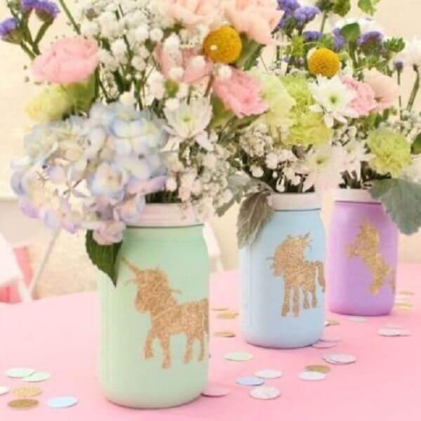 Festa de Unicórnio vasinhos de flores