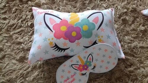 Festa de unicórnio almofada e máscara para dormir