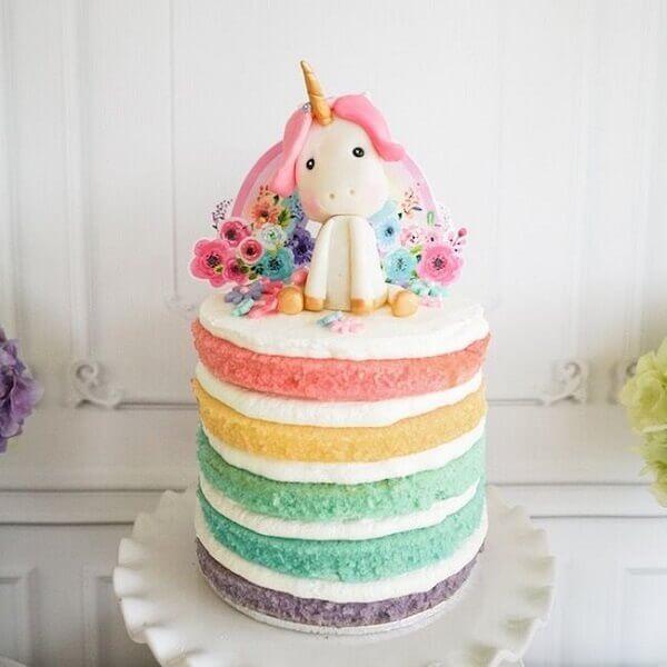 Festa de unicórnio bolo arco iris