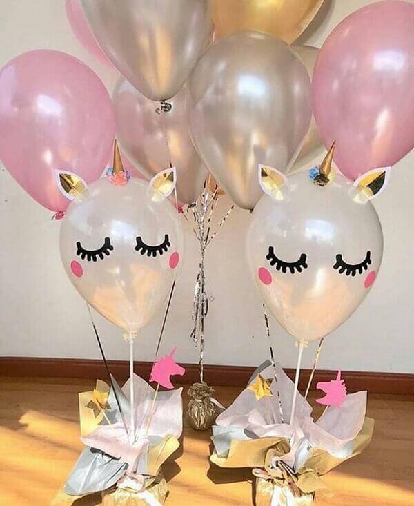 Festa de unicórnio diversos balões