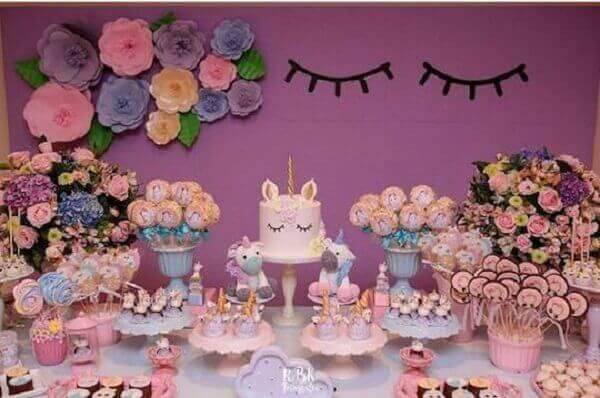 Festa de unicórnio mesa de bolo