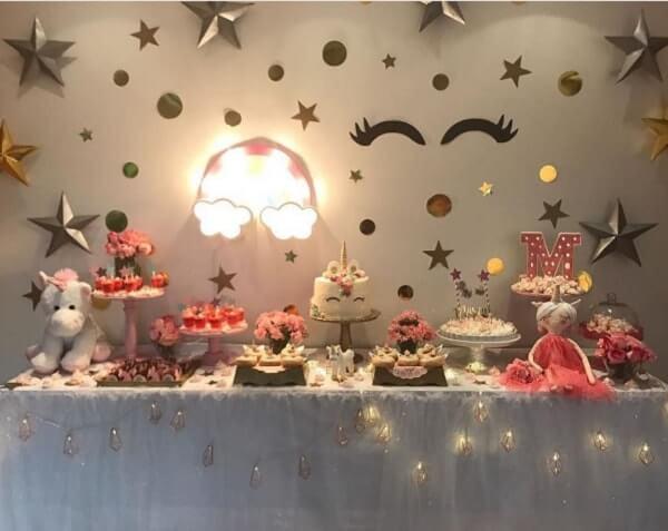 Festa de unicórnio mesa festa do pijama