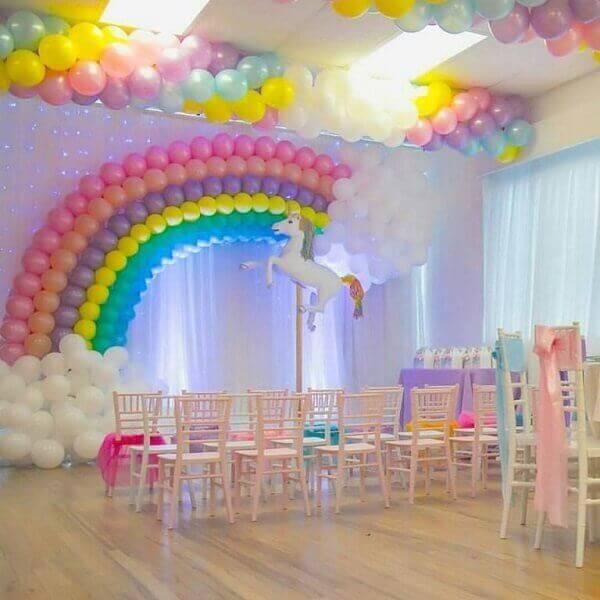 Festa de unicórnio sala decorada