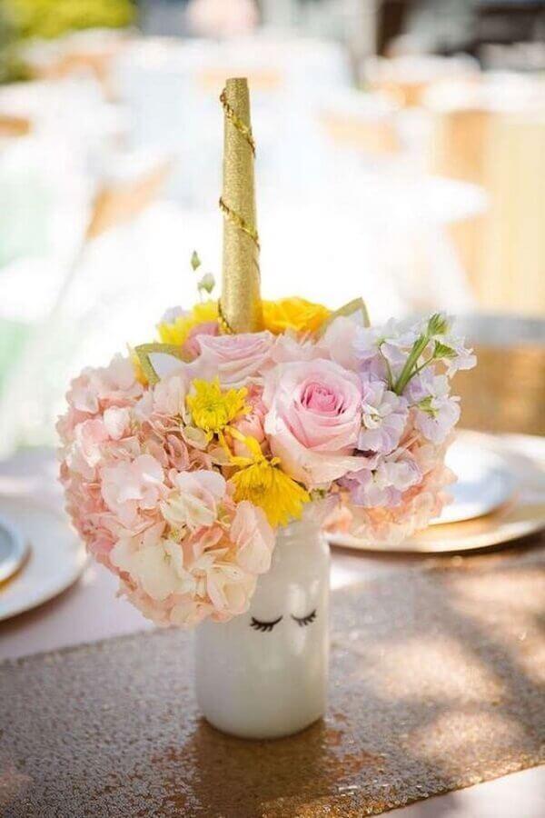 Festa de unicórnio vaso de flor