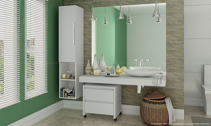 Gaveteiro branco sob pia de banheiro com parede verde Projeto de Lojas KD