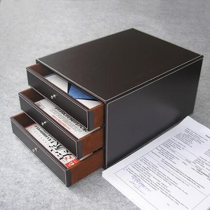 Gaveteiro de couro de mesa para guardar documentos
