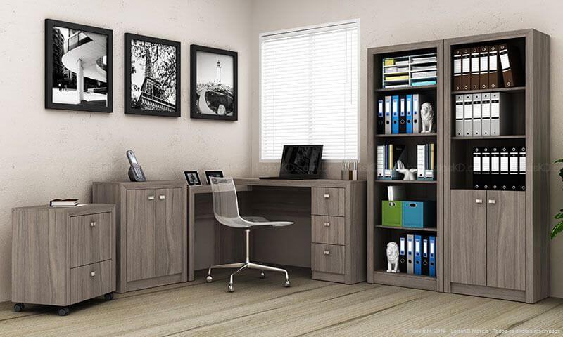 Gaveteiro do mesmo material que demais móveis do escritório Projeto de Lojas KD