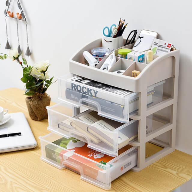 Gaveteiro organizador pequeno de plástico para escritório