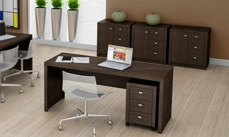 Gaveteiro para escritório sob mesa de mesma cor