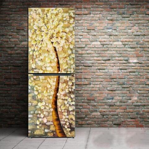 Geladeira adesivada com estampa de árvore florida